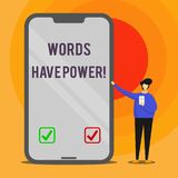 Las palabras del texto de la escritura de la palabra tienen poder Concepto del negocio para pues tienen capacidad de ayudar a cur stock de ilustración