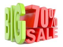 Las palabras grandes 3D de la venta y del por ciento el 70% firman Foto de archivo