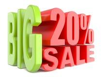 Las palabras grandes 3D de la venta y del por ciento el 20% firman Foto de archivo