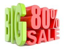 Las palabras grandes 3D de la venta y del por ciento el 80% firman Imagen de archivo