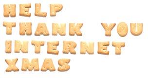 Las palabras hechas de galletas Fotos de archivo libres de regalías