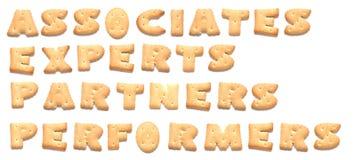 Las palabras hechas de galletas Foto de archivo