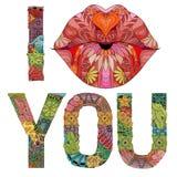 Las palabras I le besan con el objeto decorativo del zentangle del vector de la silueta de los labios stock de ilustración