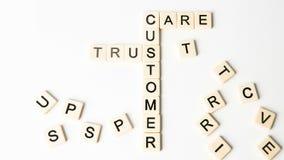 Las palabras importantes de las relaciones con los clientes formaron en forma del crucigrama almacen de video