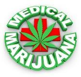 Las palabras médicas de la hoja del signo más de la marijuana hacen publicidad de vender el MED del pote Imagen de archivo libre de regalías
