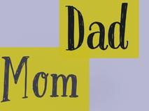 Las palabras mamá y papá de la familia en el fondo hermoso del color del limón ilustración del vector