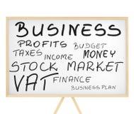 Las palabras relacionadas con el mercado se nublan en tarjeta magnética Foto de archivo