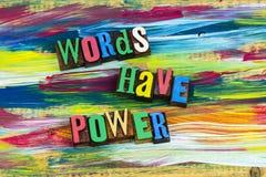 Las palabras tienen educación de la lectura del poder Foto de archivo libre de regalías