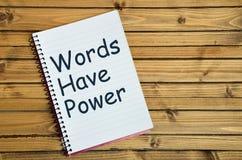 Las palabras tienen palabra del poder Imagen de archivo