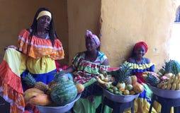 Las Palenqueras, damer för fruktkorg Arkivbild
