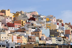Las Palmas de Gran Canaria. Colorful houses in Las Palmas de Gran Canaria, Spain stock photography