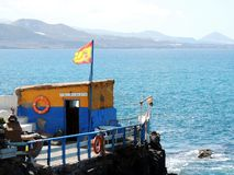 Las palmas de gran canaria beach and old fisherman house stock image
