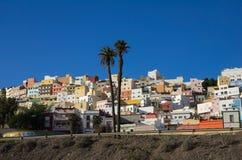 Las Palmas de Gran Canaria. Colorful residential houses in old uptown of Las Palmas de Gran Canaria, the capital city of Canary Islands, Spain stock photos