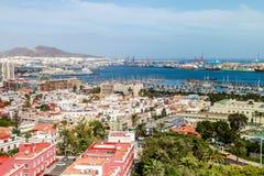 Las Palmas de Gran Canaria. Spain. Skyline of Las Palmas de Gran Canaria. A cargo harbour and a marina on the right stock photography