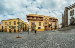 LAS PALMAS DE GRAN CANARIA, SPAIN - MARCH 08, 2019: Part of the Cathedral of Santa Ana and Casa de Colon - Columbus in the royalty free stock image