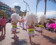 Las Palmas de Gran Canaria strandkarneval 2015 ståtar på Lasen Royaltyfria Foton
