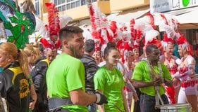 Las Palmas de Gran Canaria strandkarneval 2015 ståtar på Lasen Royaltyfri Bild