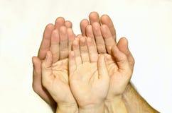Las palmas de las manos Imágenes de archivo libres de regalías