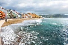 Las Palmas. Embankment on beach in Las Palmas. Gran Canaria stock photos