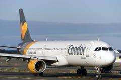 Las Palmas 7 November, Luchtbus A321-211, Condor, door taxibaan om de start te beginnen 7 november, 2018, Las Palmas, Canarische  stock fotografie