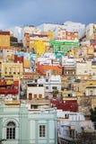 Las Palmas. View at colorful houses at Las Palmas at Gran Canaria, Spain stock photo