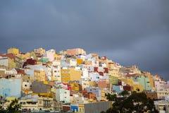 Las Palmas. View at colorful houses at Las Palmas at Gran Canaria, Spain royalty free stock images