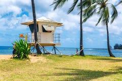 Las palmeras y el salvavidas se elevan en la playa tropical en Haleiwa, orilla del norte de Oahu imagenes de archivo