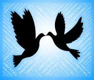 Las palomas de las tarjetas del día de San Valentín representan el amante y el romance del novio stock de ilustración
