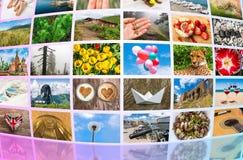 Las pantallas que formaban multimedias grandes difundieron la pared video fotos de archivo libres de regalías