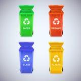 Las papeleras de reciclaje con reciclan la muestra Imagen de archivo