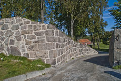 Las paredes de piedra en fredriksten la fortaleza adentro halden imagen de archivo libre de regalías