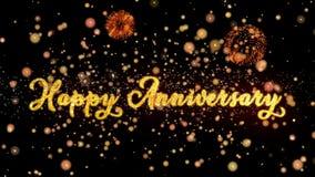 Las partículas del extracto del aniversario y la tarjeta de felicitación felices de los fuegos artificiales del brillo mandan un  ilustración del vector