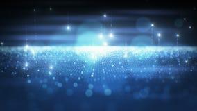 Las partículas que oscilan azules del extracto hermoso emergen moviéndose en fondo negro con las llamaradas del vuelo y el efecto stock de ilustración