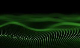 Las partículas verdes futuristas agitan el fondo abstracto - elemento creativo del diseño ilustración del vector