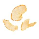 Las partes de la mandarina pelan aislado en el fondo blanco Imagen de archivo