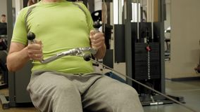 Las partes gordas del hombre bajan las ansias, detr?s ejercicios, en el gimnasio Aptitud Forma de vida sana almacen de video