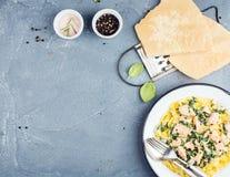 Las pastas de los tallarines con los salmones, la espinaca y la salsa cremosa, queso parmesano sobre el hormigón texturizaron el  Imagenes de archivo