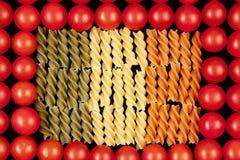 Las pastas tricolores tienen gusto del indicador del italiano del símbolo Imagenes de archivo