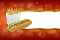 Las patatas fritas blancas del perrito caliente abstracto del fondo encajonan el ejemplo rojo del marco del oro de las rayas del  Imagen de archivo