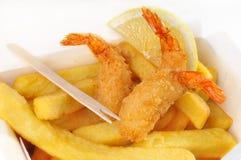 Las patatas fritas cocieron al horno el camarón Imagen de archivo