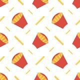 Las patatas fritas curruscantes en caja de papel roja vector el fondo inconsútil del modelo Foto de archivo libre de regalías