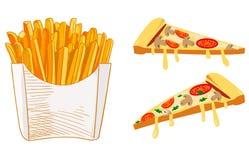 Las patatas fritas y la pizza cortan el bosquejo, ejemplo dibujado mano del VECTOR de los alimentos de preparación rápida Bosquej Imagen de archivo libre de regalías