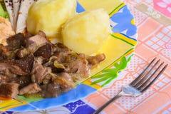 Las patatas hervidas con el pollo cortan pedazos y setas fritas Foto de archivo libre de regalías
