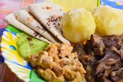Las patatas hervidas con el pollo cortan pedazos y setas fritas Fotografía de archivo libre de regalías