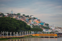 Las Peñas - the oldest area of Guayaquil, Ecuador. Panoramic photo of Las Peñas - the oldest area of Guayaquil city at sunset taken from Malecon 2000, South Stock Photos