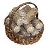 Las pelotillas de madera arreglaron en una cesta de mimbre, aislada en la parte posterior del blanco Imágenes de archivo libres de regalías