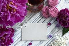 Las peonías florecen el vidrio rosado de té con la melcocha en un fondo de madera blanco - imagen común de la tarjeta de felicita Imágenes de archivo libres de regalías