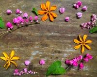 Las pequeñas flores y hoja arreglan en el fondo de madera Imagen de archivo