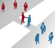 Las personas de la compañía de asunto ensamblan el puente 2 de la fusión ilustración del vector