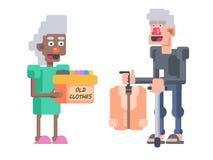 Las personas mayores de la donación del paño intercambian stock de ilustración